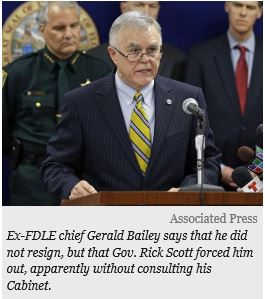 Associated Press Photo of Ex-FDLE chief Gerald Bailey speaking to the press and stating that he did not resign, but that Gov. Rick Scott forced him out, apparently without consulting his Cabinet.